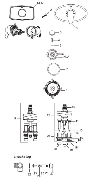 leonard mixing valve parts diagram